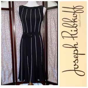 Joseph Ribkoff solid black with white ribbing dres